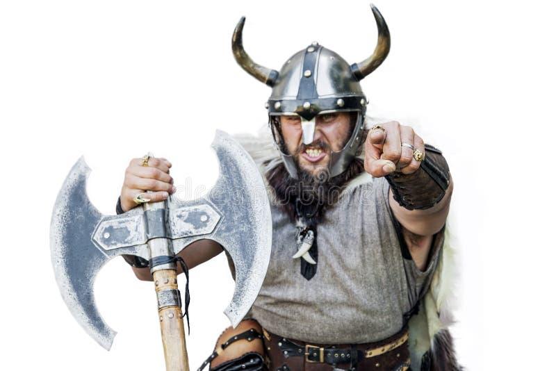 He Sie! Porträt des wütenden starken verärgerten Wikingers stockfotografie