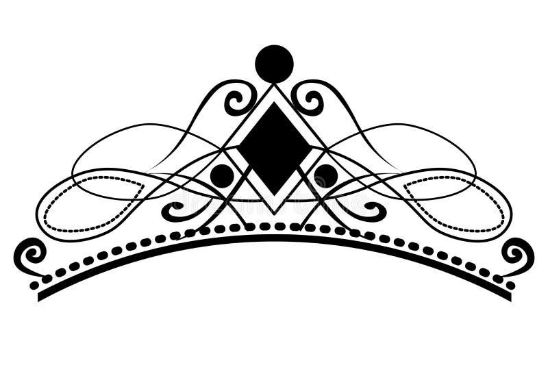 Sie? Rocznik kaligraficzne winiety, eleganccy diademy i dekoracyjni projekt royalty ilustracja