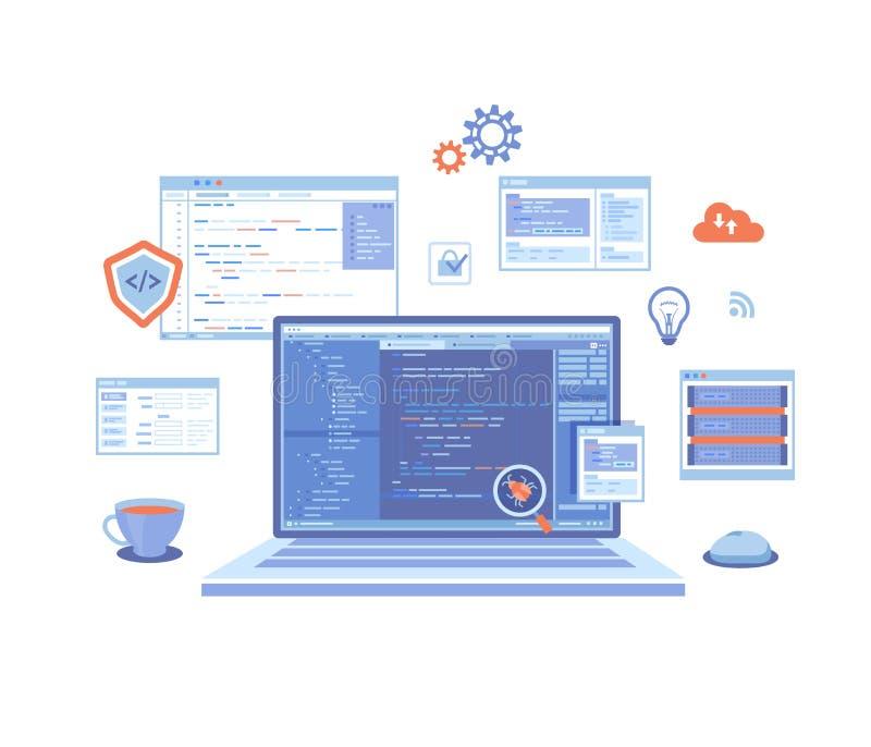 Sie? rozwoju programowania cyfrowanie laptop z programa kodem na ekranie, wirtualni ekrany, infographic element ikony Pluskwy fix ilustracji