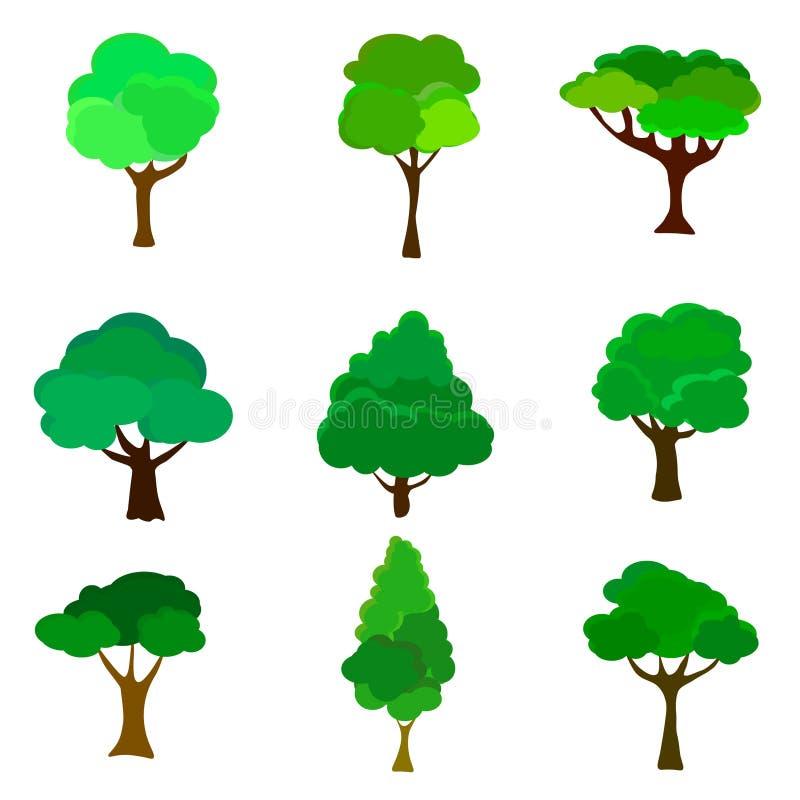 Sie? Set abstrakt?w stylizowani drzewa naturalna ilustracja ilustracji