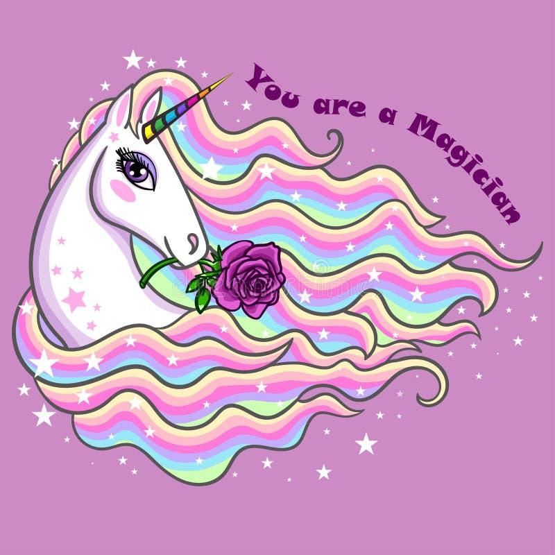Sie sind ein Magier Ein schönes, Regenbogeneinhorn mit einer Rose stock abbildung