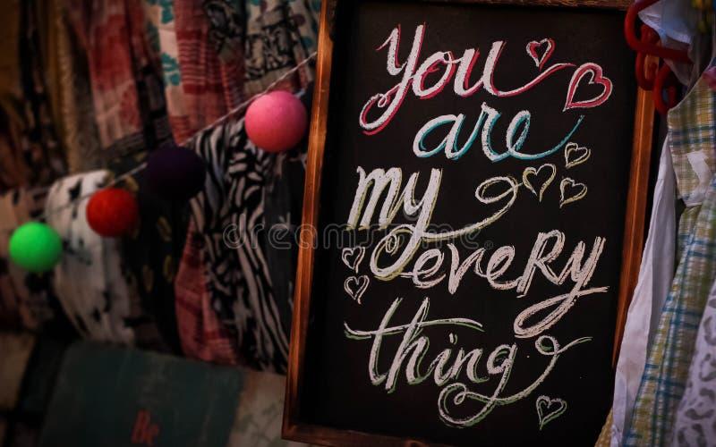 Sie sind mein alles auf einem Tafel-Schiefer stockbilder