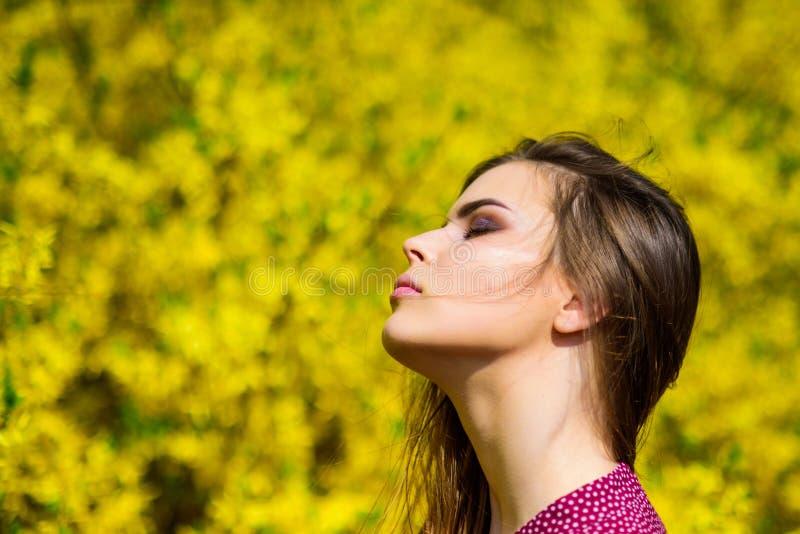Sie sind so sch?n h?bsches Frau skincare M?dchen wie Natur Natursch?nheitsmake-up Haarart und weise Sommerbl?hen stockfotografie