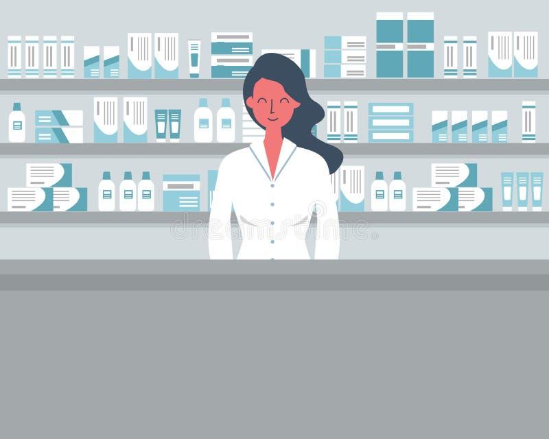 Sie? sztandar farmaceuty mieszkanie ostry styl i ilustracji