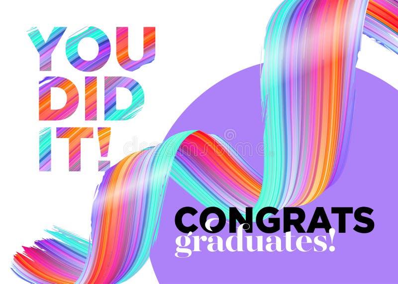 Sie taten es Glückwunsch-Absolvent-Klasse des 2018 Vektor-Logos stock abbildung