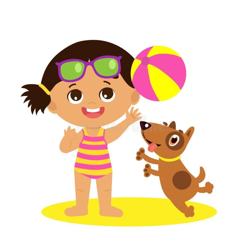 Sie wählt Blumen für ihre Urgroßmutter durch The Creek aus Netter Sommer-Mädchen-Karikatur-Vektor Mädchen, das Ball mit einem Hun lizenzfreie abbildung