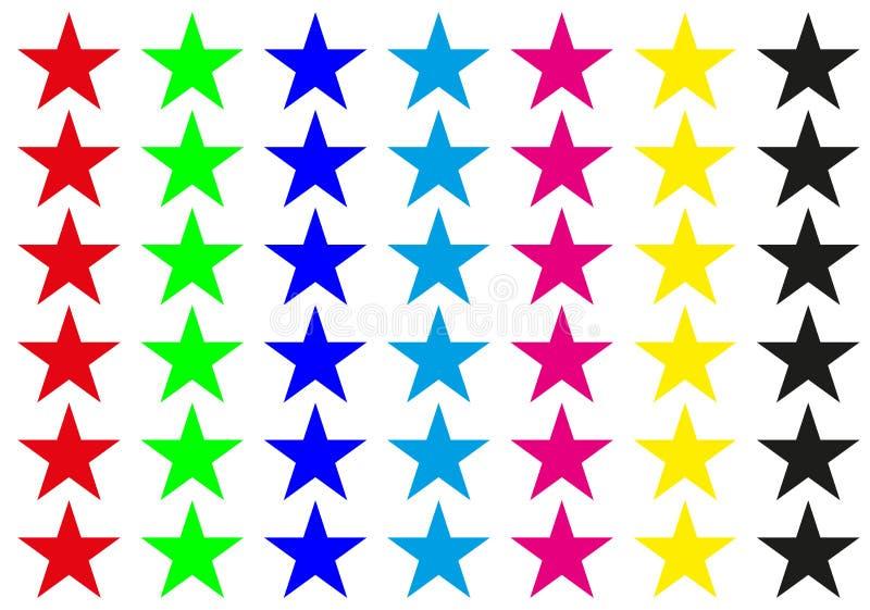 Sieben Farbstern Auch im corel abgehobenen Betrag Heller Hintergrund vektor abbildung
