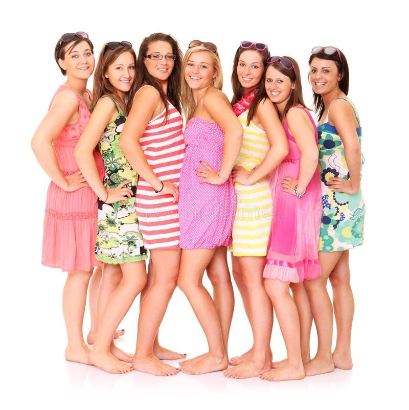 Sieben Freunde stockbilder