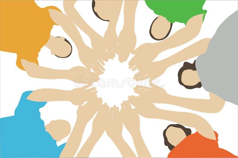 Sieben Freunde verbundene Hände stock abbildung