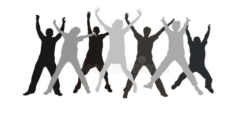 Sieben Freundhandsprung stock abbildung