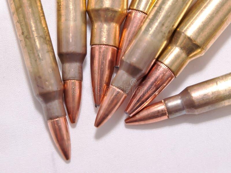 Sieben Gewehrkugeln, 223 und 300 Winchester-Magnumkaliber lizenzfreies stockfoto