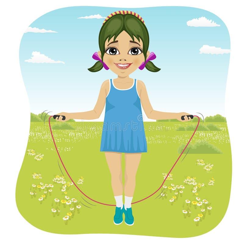 Sieben Jahre Mädchen, die mit Springseil im Sommerpark springen stock abbildung