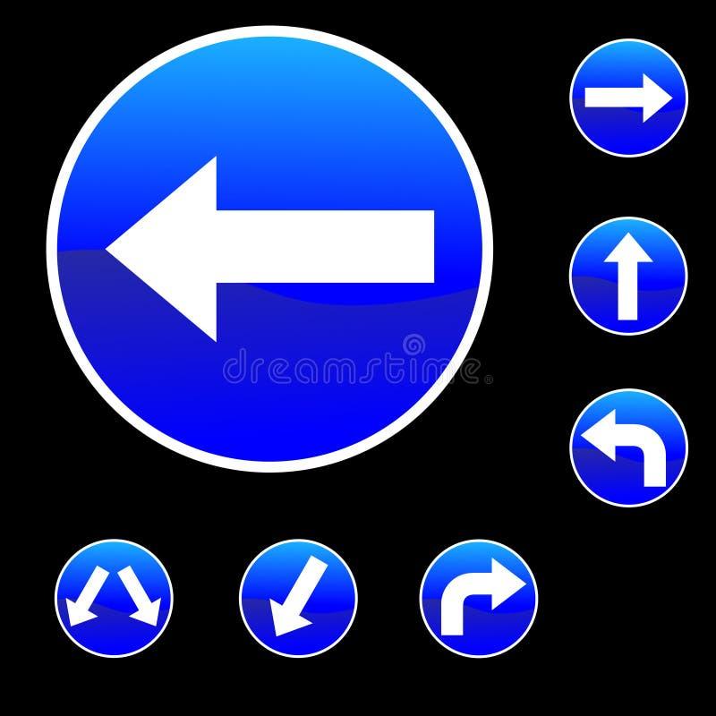 Sieben runde Form-blaue Verkehrsschilder stock abbildung