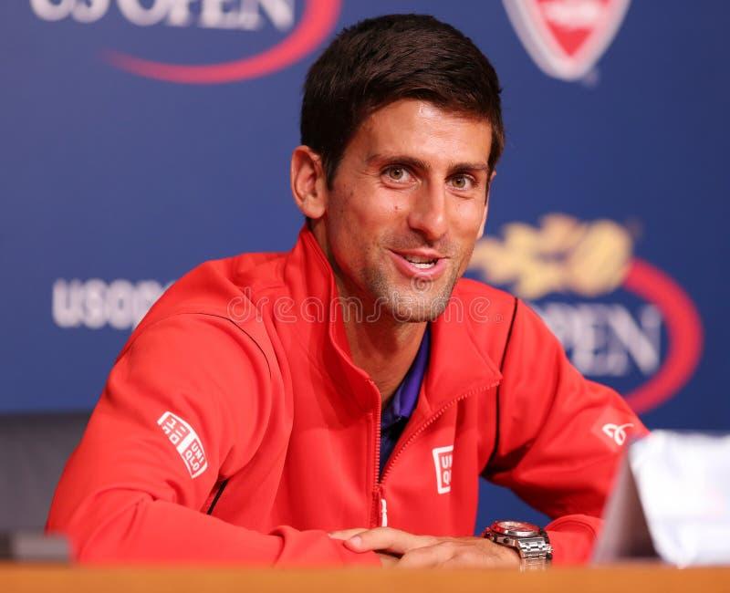 Siebenmal Grand Slam-Meister Novak Djokovic während der Pressekonferenz bei Billie Jean King National Tennis Center lizenzfreies stockbild