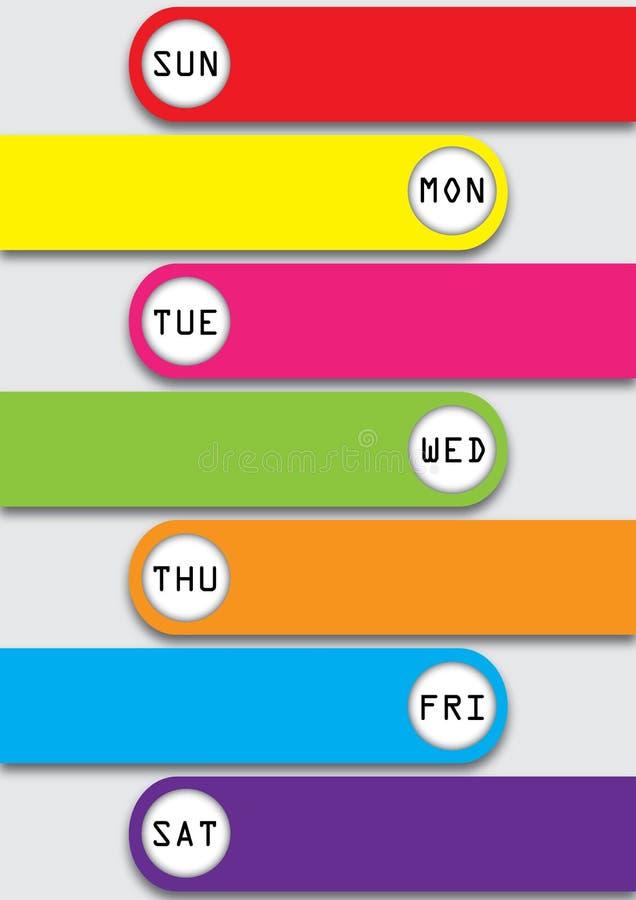 Siebentägiger Zeitplan stock abbildung