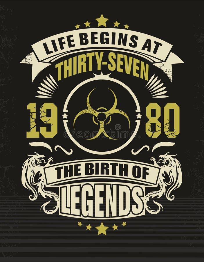 Siebenunddreißig kühles Designt-shirt stockbild