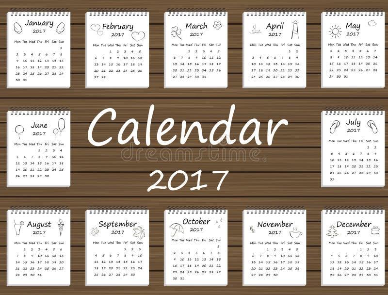 Siebzehntes Jahr des Kalenders zwei tausend Schwarzweiss lizenzfreie abbildung