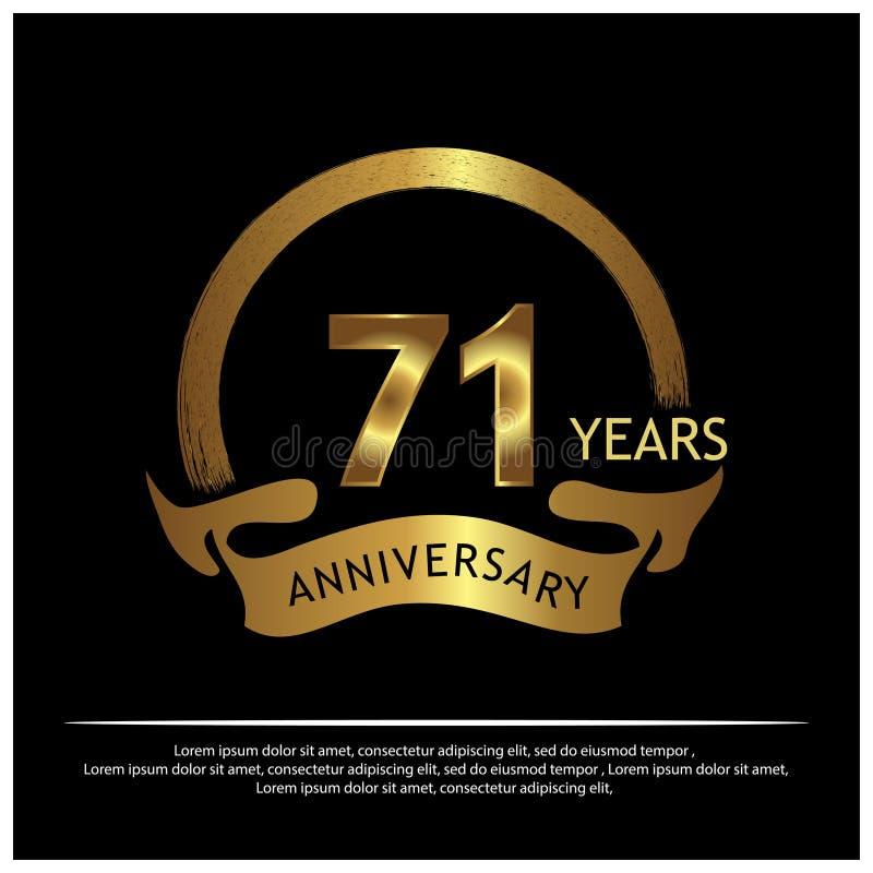 Siebzig eine Jahre Jahrestag golden Jahrestagsschablonenentwurf für Netz, Spiel, kreatives Plakat, Broschüre, Broschüre, Flieger, lizenzfreie abbildung