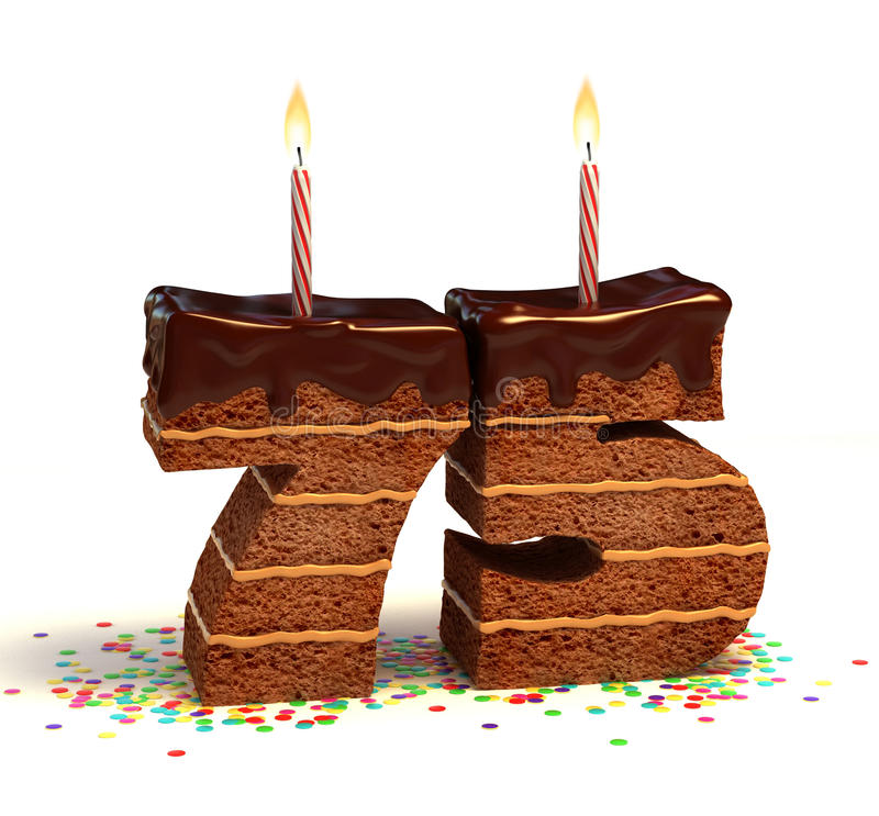 Siebzig-fünfter Geburtstag- oder Jahrestagskuchen lizenzfreie abbildung