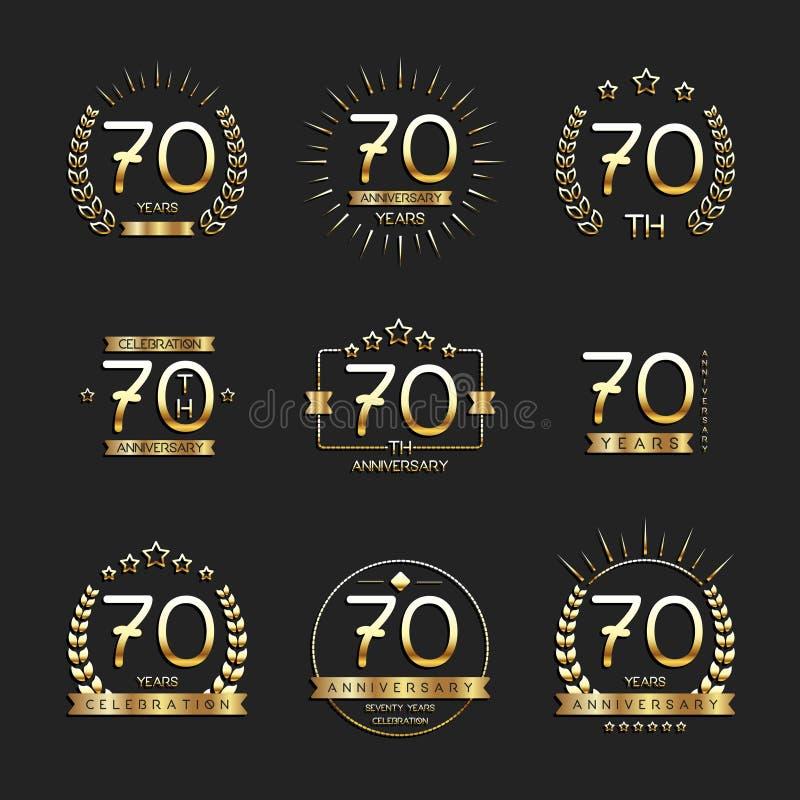 Siebzig Jahre Jahrestagsfeier-Firmenzeichen 70. Jahrestagslogosammlung vektor abbildung