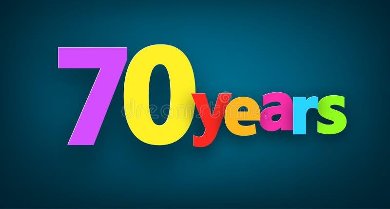Siebzig Jahre Papierzeichen vektor abbildung