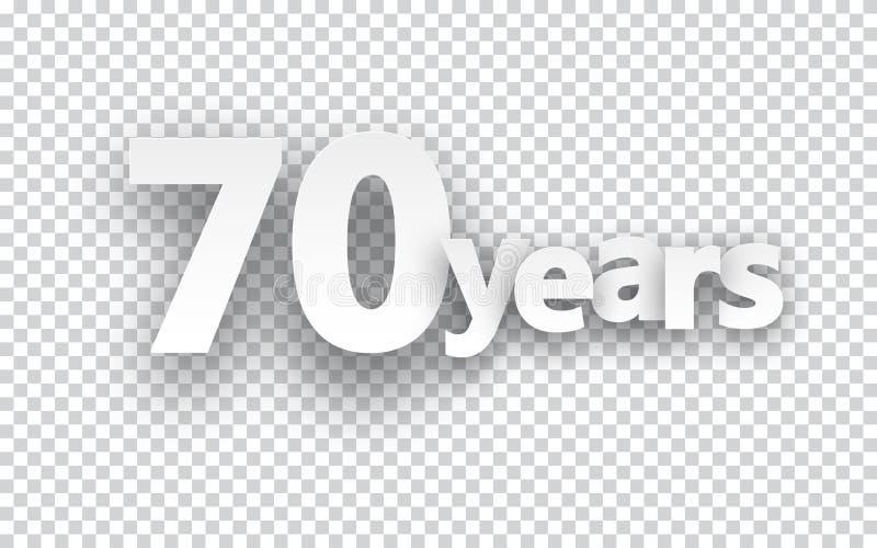 Siebzig Jahre Papierzeichen stock abbildung