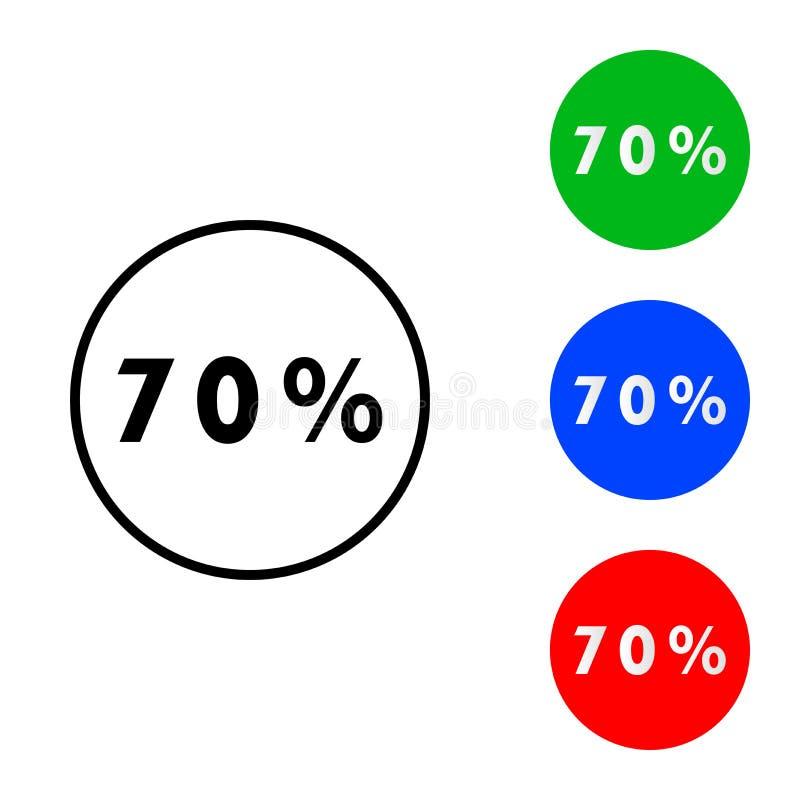 Siebzig-Prozent-Ikone lizenzfreie abbildung