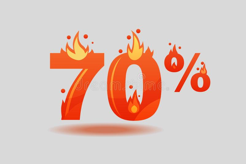 Siebzig-Prozent-Rabatt, Zahlen auf Feuer vektor abbildung
