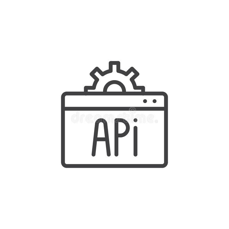 Sieci API konturu ikona ilustracji