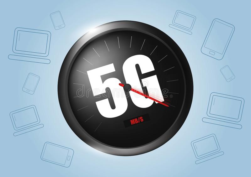 Sieci bezprzewodowej pr?dko?ci poj?cie, szybko?ciomierza 5G ewolucja Realistyczna wektorowa ilustracja ilustracja wektor