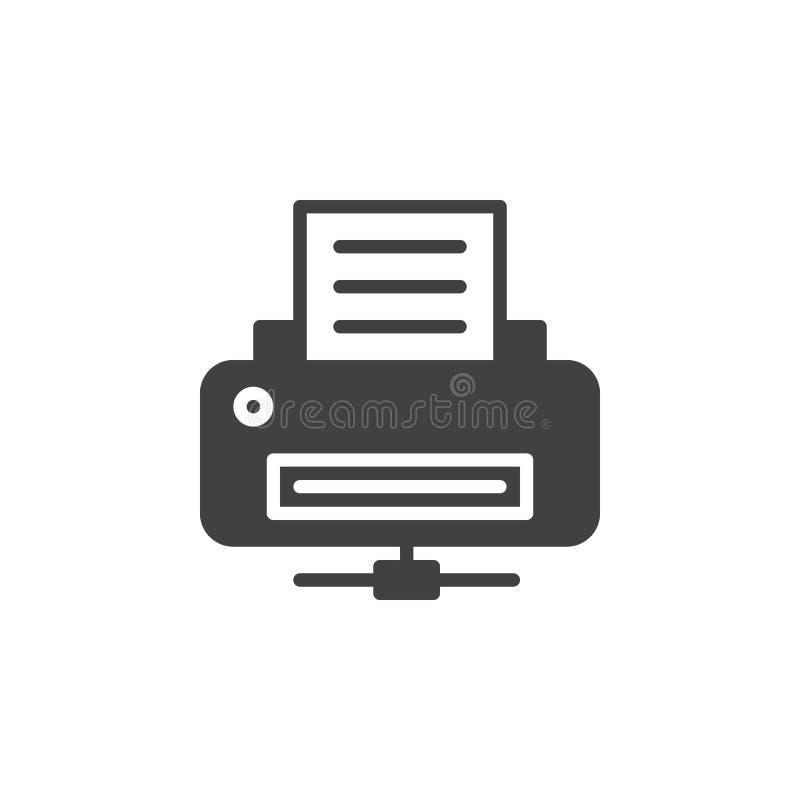 Sieci drukarki ikony wektor, wypełniający mieszkanie znak, stały piktogram odizolowywający na bielu ilustracja wektor