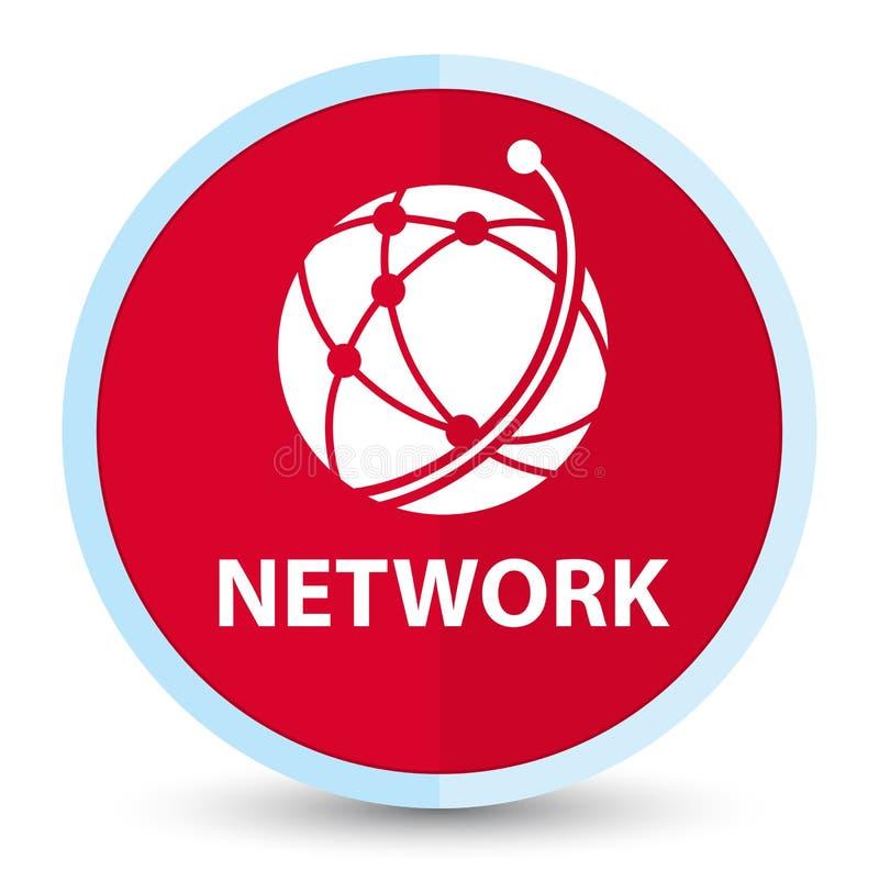 Sieci (globalnej sieci ikona) płaski pierwszorzędny czerwony round guzik royalty ilustracja