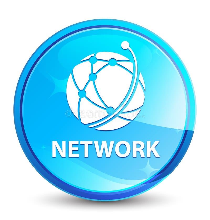 Sieci (globalnej sieci ikona) pluśnięcia round naturalny błękitny guzik ilustracja wektor