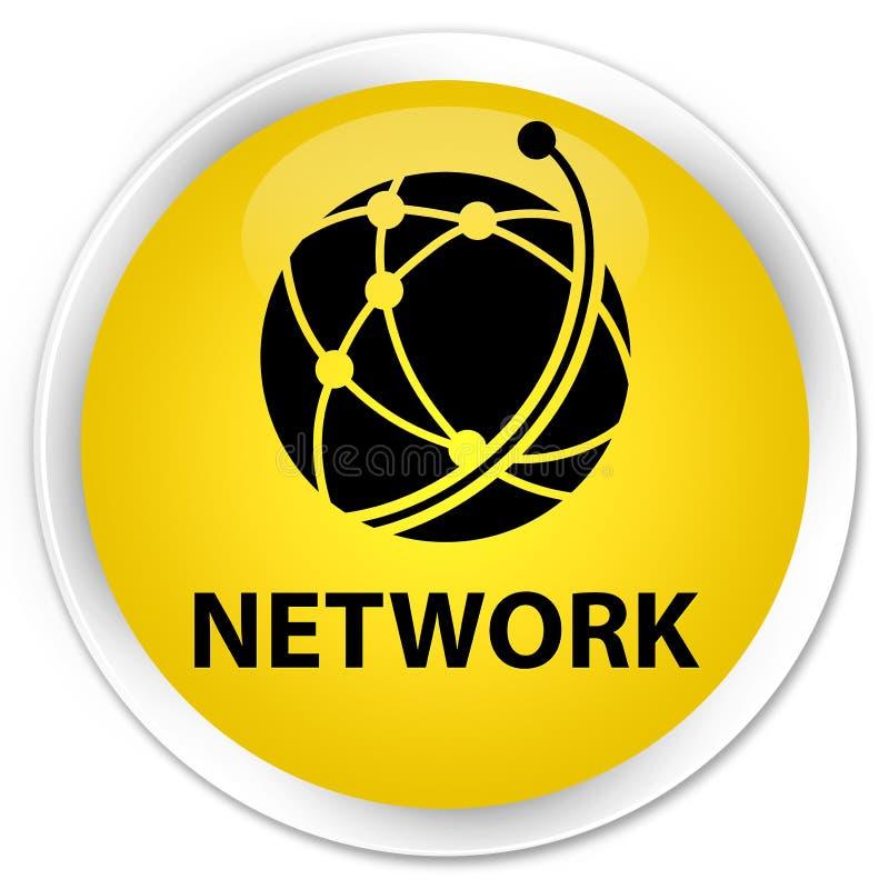 Sieci (globalnej sieci ikona) premia żółty round guzik ilustracja wektor