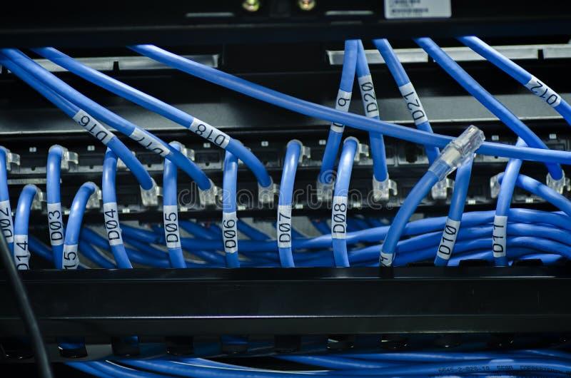 Sieci i łaty sznur depeszuje w dane cente Selekcyjnej ostrości strzał zdjęcia stock