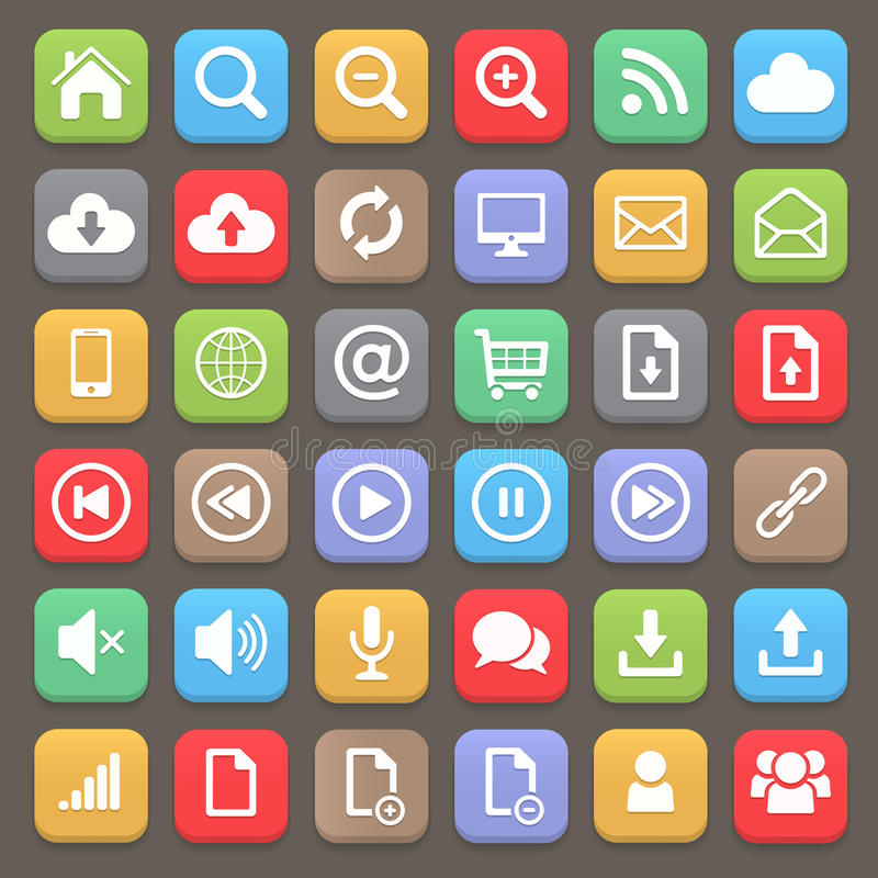 Sieci i interneta ikony płaski set Wektorowy element ilustracja wektor