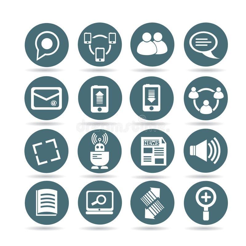 Sieci i socjalny środków ikony ilustracji
