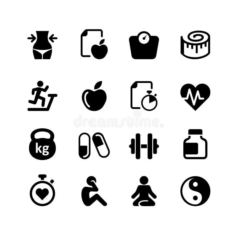 Sieci ikona ustawiająca - zdrowie i sprawność fizyczna ilustracja wektor