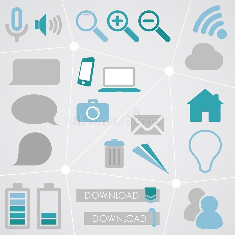 Sieci ikony Ewidencyjna grafika Ustawia 2 ilustracja wektor