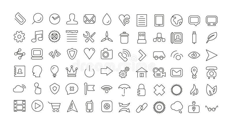 Sieci ikony kreskowy set. Cech ogólnych cienkie ikony ilustracji