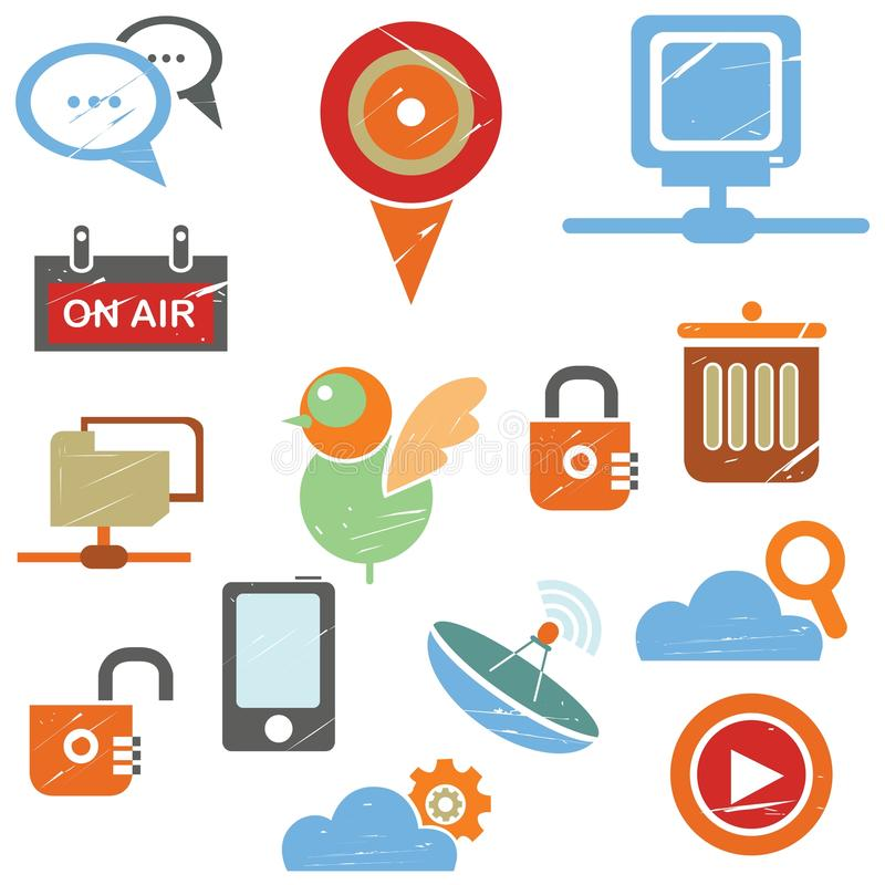Sieci ikony, ogólnospołeczne medialne ikony ilustracji