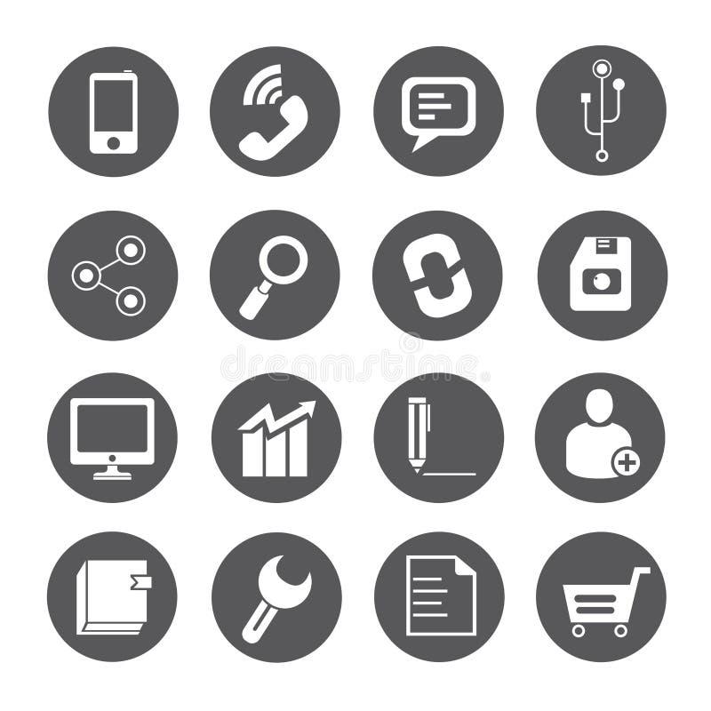 Sieci ikony, round guziki ilustracji