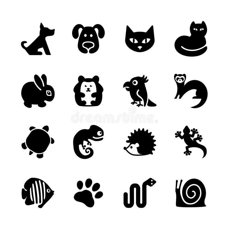 Sieci ikony set. Zwierzę domowe sklep, typ zwierzęta domowe. royalty ilustracja