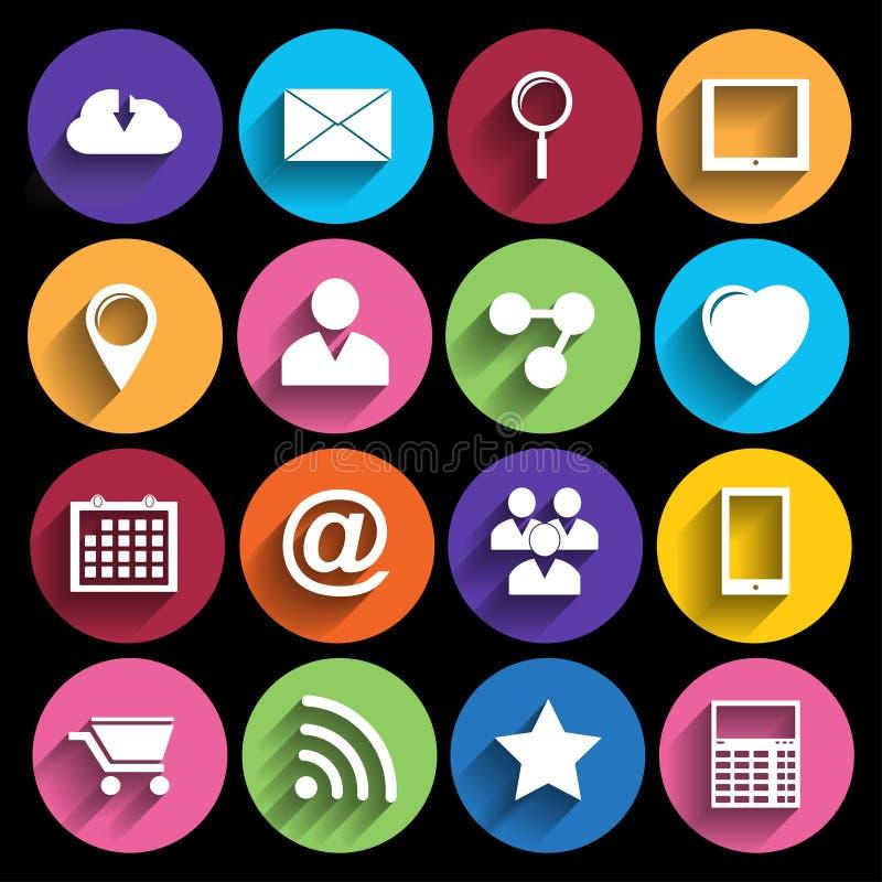 Sieci ikony Ustawiać w Płaskim projekcie ilustracji