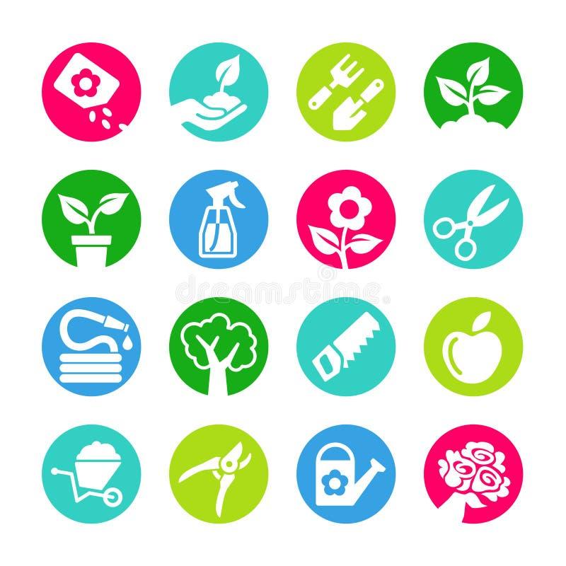 Sieci ikony ustawiają - ogrodnictwo, narzędzia, kwiaty ilustracji