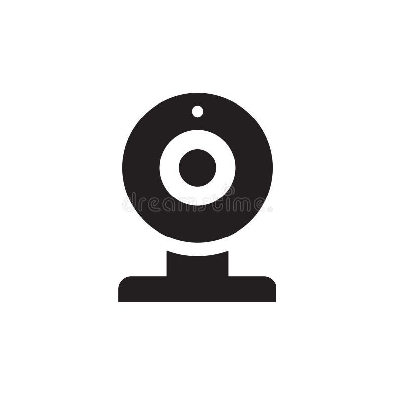 Sieci kamera - czarna ikona na białego tła wektorowej ilustracji dla strony internetowej, mobilny zastosowanie, prezentacja, info royalty ilustracja