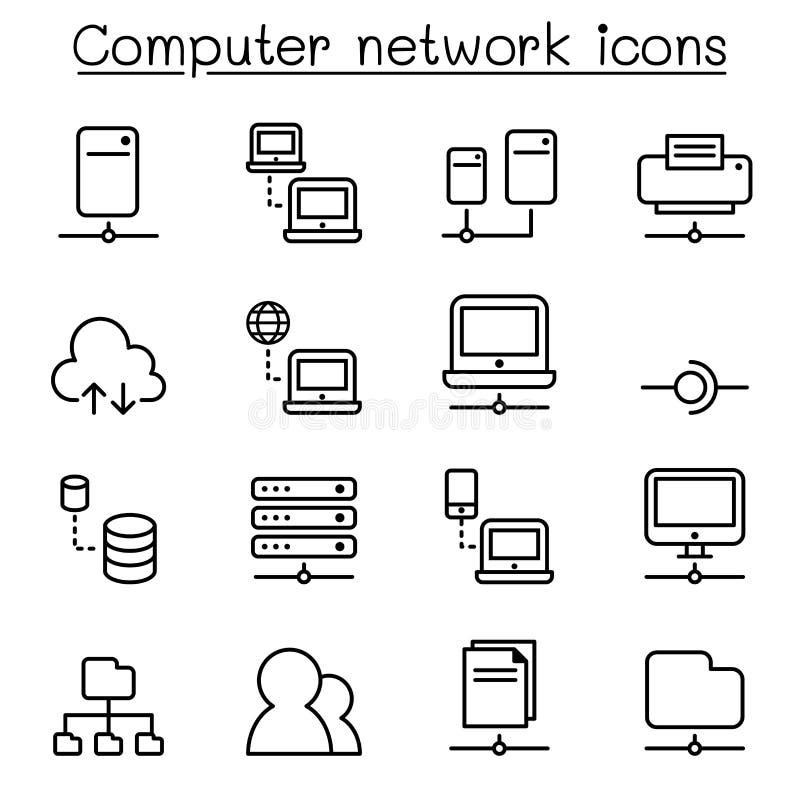 Sieci komputerowej ikona ustawiająca w cienkim kreskowym stylu royalty ilustracja