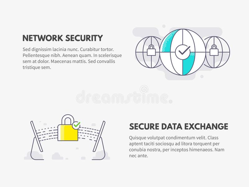 Sieci ochrona i Bezpiecznie dane wymiana Cyber ochrony pojęcie ilustracji