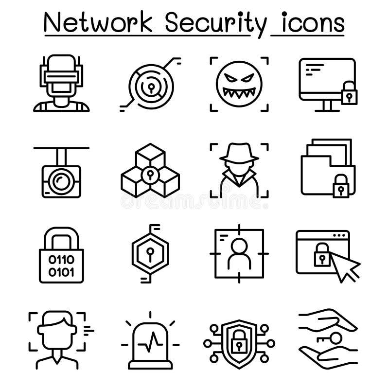Sieci ochrona, Internetowa zapory ikona ustawiająca w cienkim kreskowym stylu ilustracja wektor