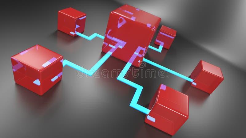 Sieci poj?cie z kruszcowymi rzeczami ??czy? na czarnym tle - 3D renderingu ilustracja ilustracja wektor
